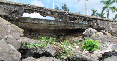 Colapsan tramos del muro del río