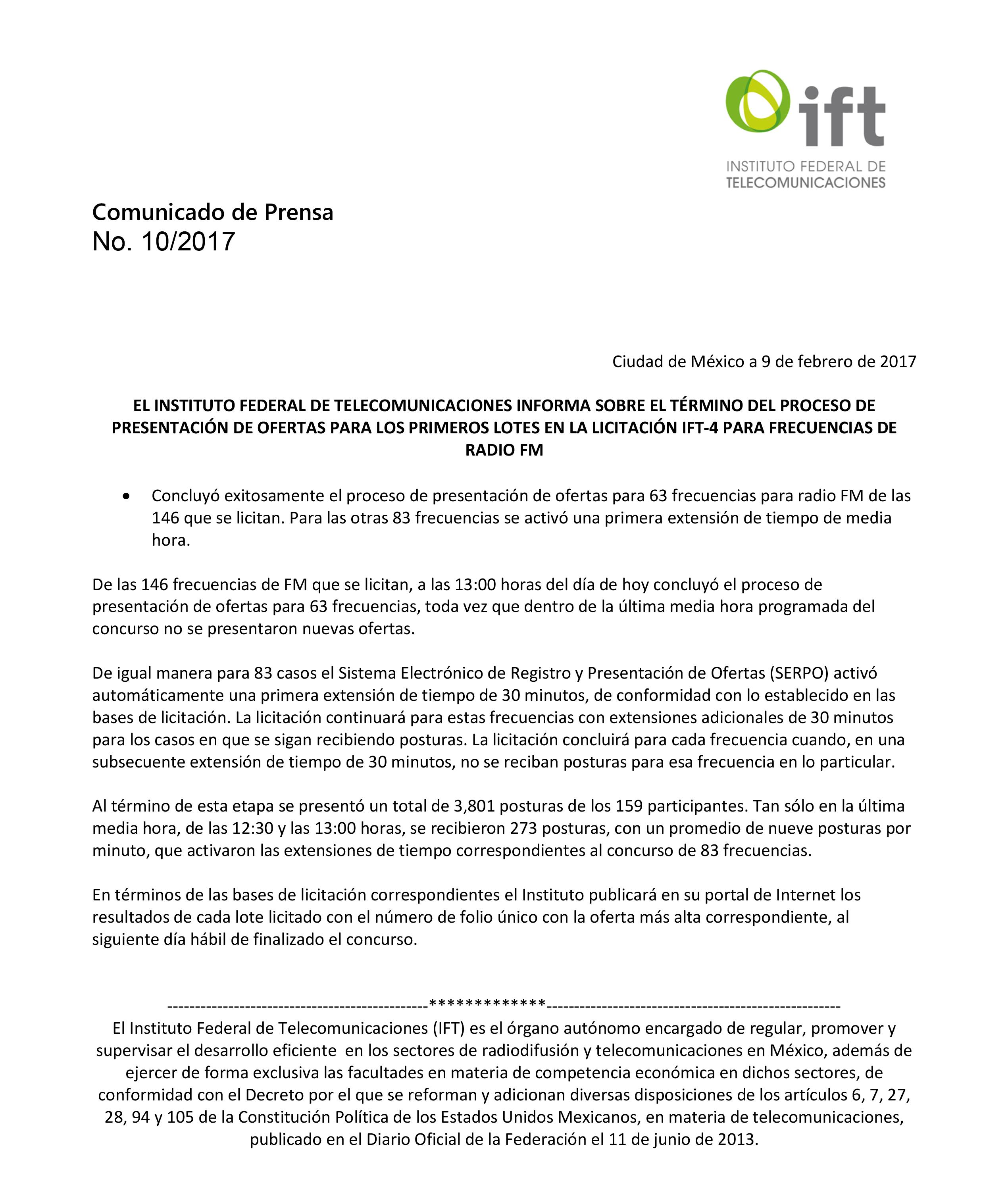 Licitación IFT