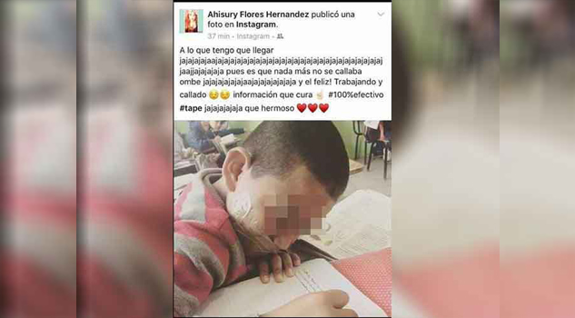 Maestra amordaza a alumno y lo exhibe en redes sociales