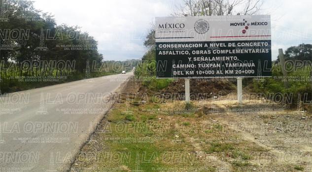 Rehabilitan la carretera Tuxpan-Tamiahua