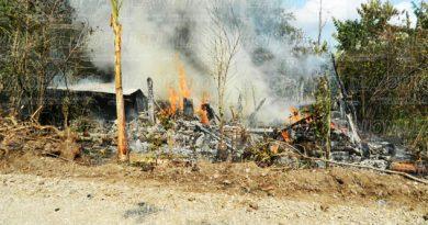 Voraz incendio arrasa con vivienda