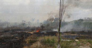 Incendio en pastizal en la colonia Plan de Ayala