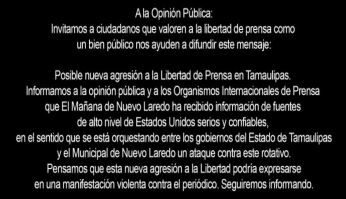 Advierten inminente ataque contra El Mañana El Mañana de Nuevo Laredo