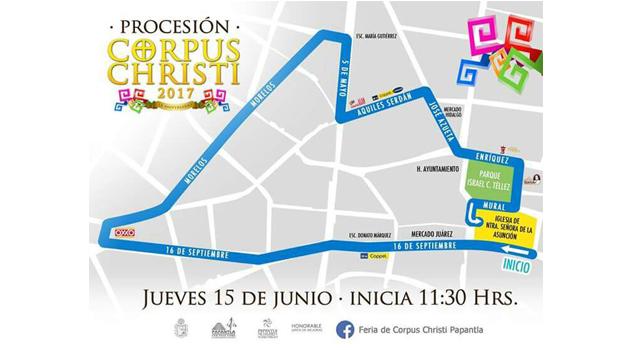 Así será el recorrido de la Procesión de Corpus Christi