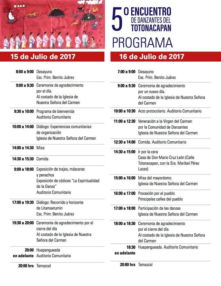 Programa del 5 Encuentro de Danzantes