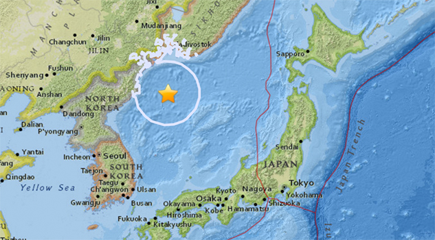 Sismo de magnitud 5,8 sacude mar frente a la península de Corea