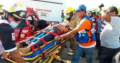 Tres lesionados en espantoso choque en Altamira