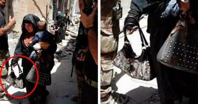 Una 'novia' del Estado Islámico con un bebé en brazos antes de detonar su chaleco explosivos