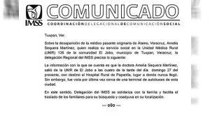 Comunicado IMSS Desmiente DEsaparición