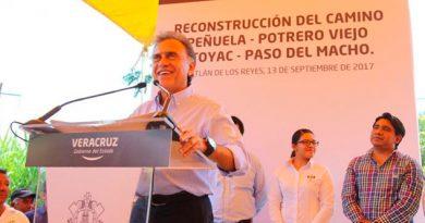 Anuncian reconstrucción de Camino Peñuela-Potrero Viejo-Atoyac