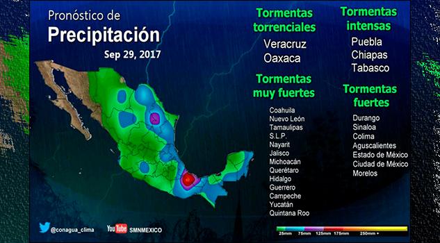 Persistirán lluvias en sur