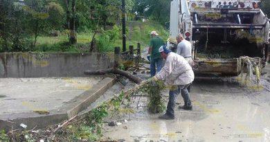 Retiran basura acumulada del arroyo de aguas negras