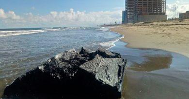 Gran Cantidad Chapopote Playas Coatzacoalcos