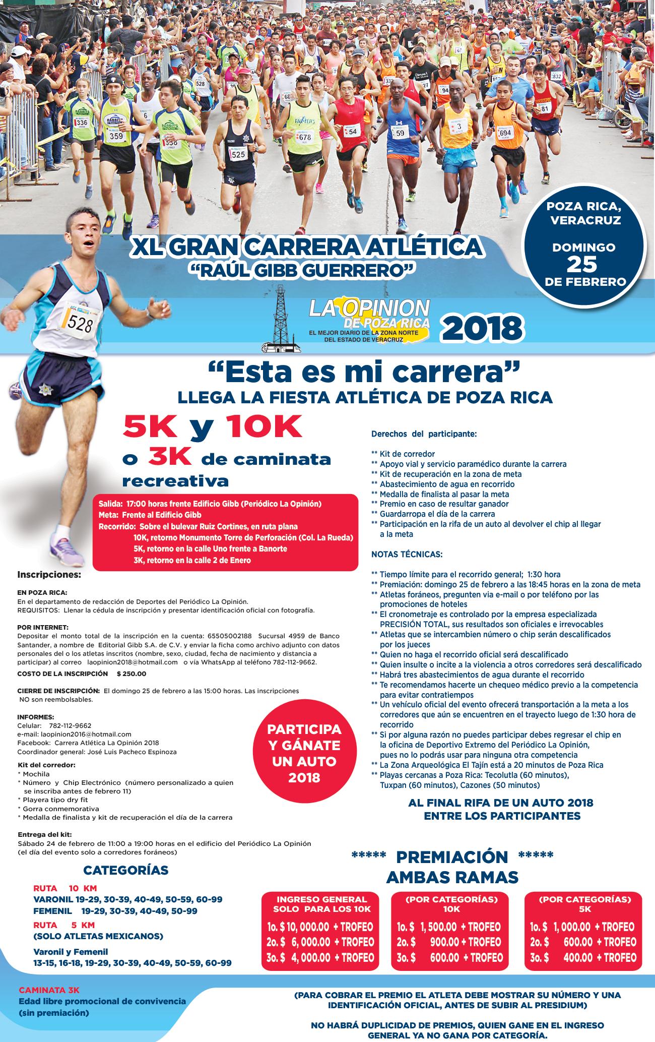 """Convocatoria a la XL Gran Carrera Atlética """"Raúl Gibb Guerrero"""" 2018"""
