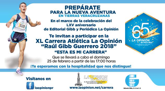 """gran Convocatoria a la XL Gran Carrera Atlética """"Raúl Gibb Guerrero"""" 2018"""