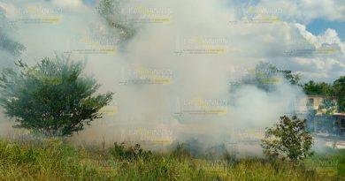 Incendio en pastizal de Álamo movilizo al Cuerpo de Bomberos