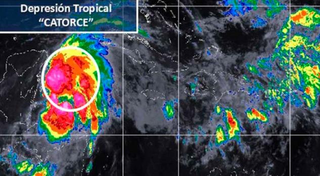 Depresión Tropical 14 Localiza Frente Costas QRoo