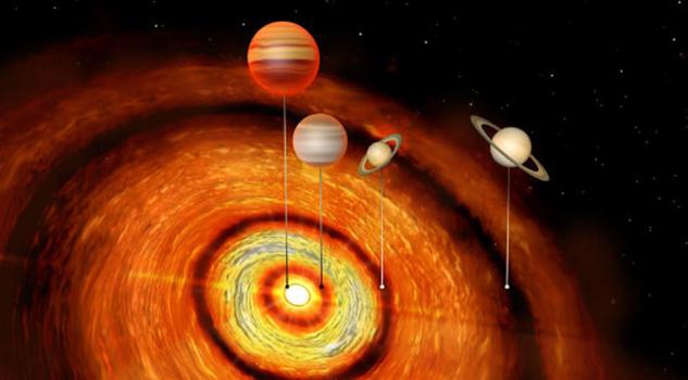 Descubren sistema solar con cuatro planetas
