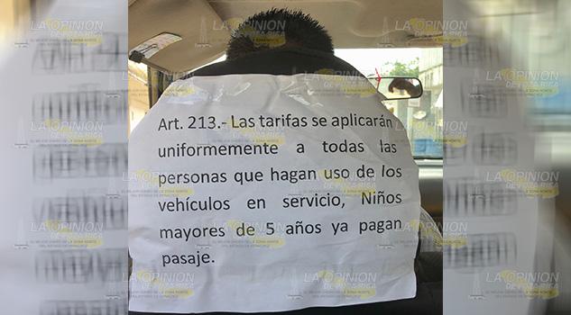 Los niños si pagan pasaje, taxistas en Tamiahua