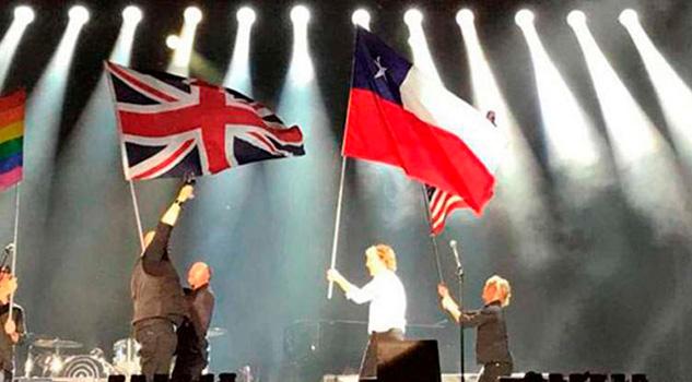 McCartney confunde bandera de Chile con la de Texas