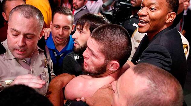 McGregor-Nurmagomedov termina en golpes abajo del octágono