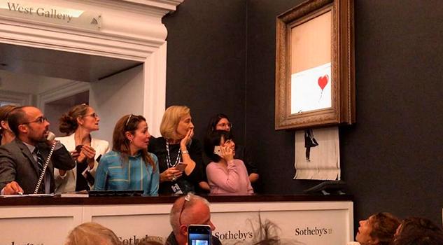 ofrecen el doble por la obra triturada de Banksy