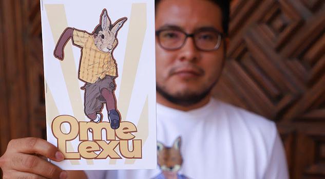 Hombre conejo cómic del superhéroe que fomenta las lenguas indígenas