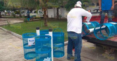 Colocan más contenedores de basura en Tuxpan