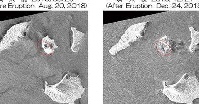 Volcán de Indonesia pierde dos tercios de su altura
