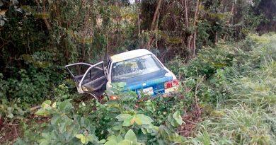Choca contra árbol tras salirse en el tramo Alazán - Cerro Azul