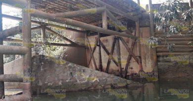 Puente de la congregación Juana Moza, en riesgo de colapsar