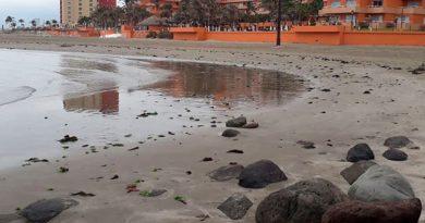 Se retraen aguas del Golfo varios metros en playa de Boca