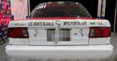 Recupera SSP taxi robado en Coscomatepec de Bravo