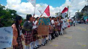 """Estudiantes del Telebachillerato """"Filomeno Mata"""" apoyan lucha de CECyTE 22 en Tlaxcala"""
