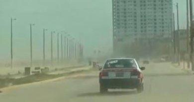 Frente frío provoca tormenta de arena en Coatzacoalcos