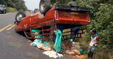 Volaron los pollos en la carretera federal Tuxpan - Tampico