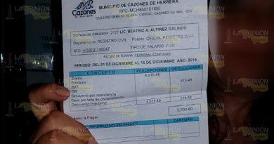 """Empleados del ayuntamiento de Cazones de Herrera, ganan """"jugosos"""" salarios"""