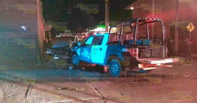 Patrulleros heridos en choque en Martínez de la Torre