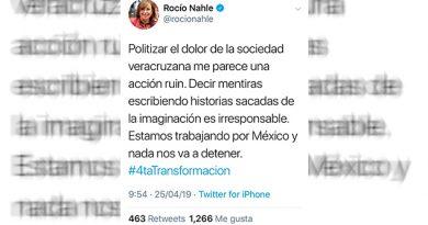 Politizar el dolor de la sociedad veracruzana, acción ruin Rocío Nahle