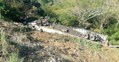 Trailero vive de milagro tras volcar sobre la carretera Tuxpan - Tampico