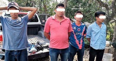 4 detenidos por portación de armas y delitos contra la salud en localidad de Atoyac