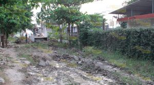 Estragos por fuga de agua en calle de Poza Rica