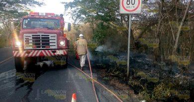 Fuego consume un amplia área verde en la carretera Tuxpan - Tampico