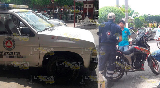 Motociclista choca contra camioneta en el centro de Huejutla