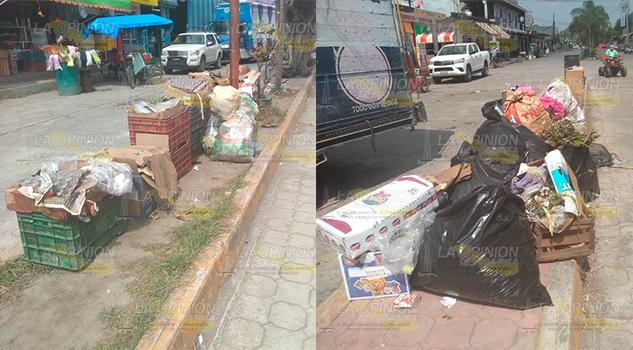 Persiste basura en Entabladero, camión recolector pasa hasta medio día o tarde