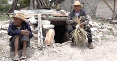 Artesanos tejen la palma dentro de cuevas