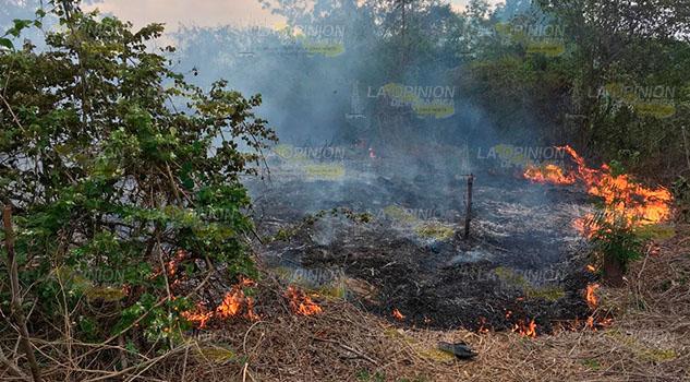 Incendio de pastizal casi alcanza un poblado en Papantla