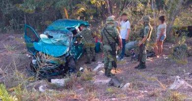 Queda prensado en automóvil por accidente en la Tampico - Valles
