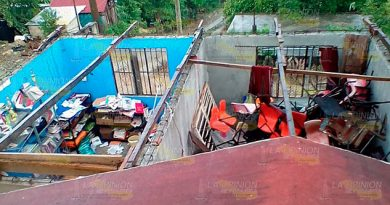 Estragos en comunidades de Coatzintla por fuertes vientos